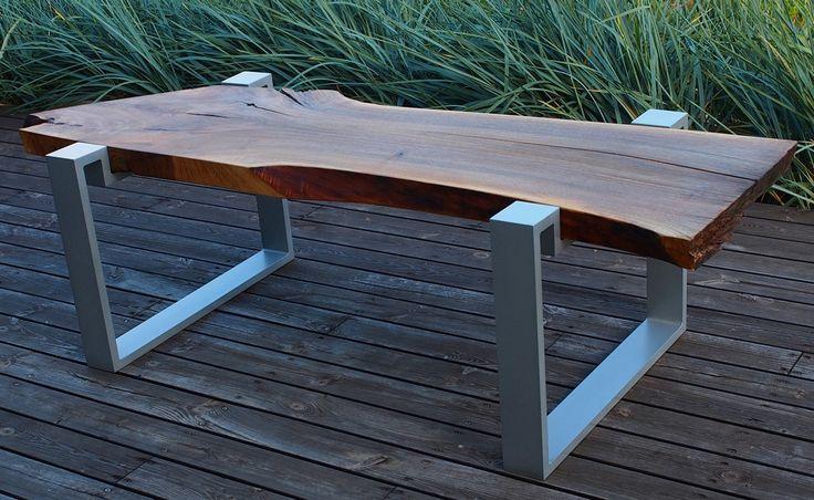 Diagonal console, walnut live edge coffee table, aluminium legs, cracks by polishWOOD on Etsy
