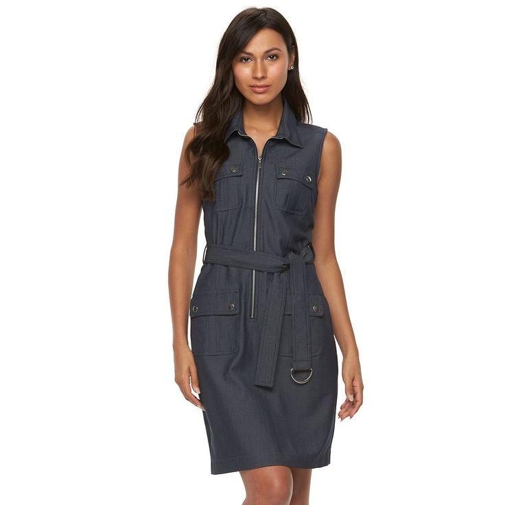 Women's Sharagano Sleeveless Shirtdress, Size: 14, Blue (Navy)