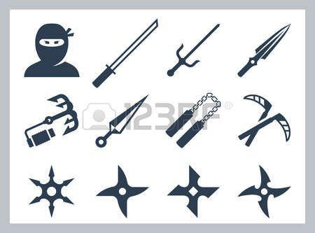 samourai ninja et des armes de ninja vecteur icne ensemble