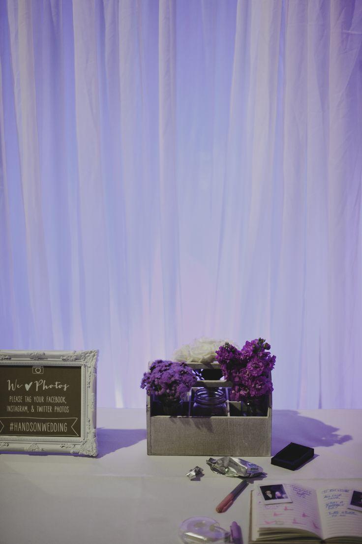 Floral arrangements and selfie guestboook