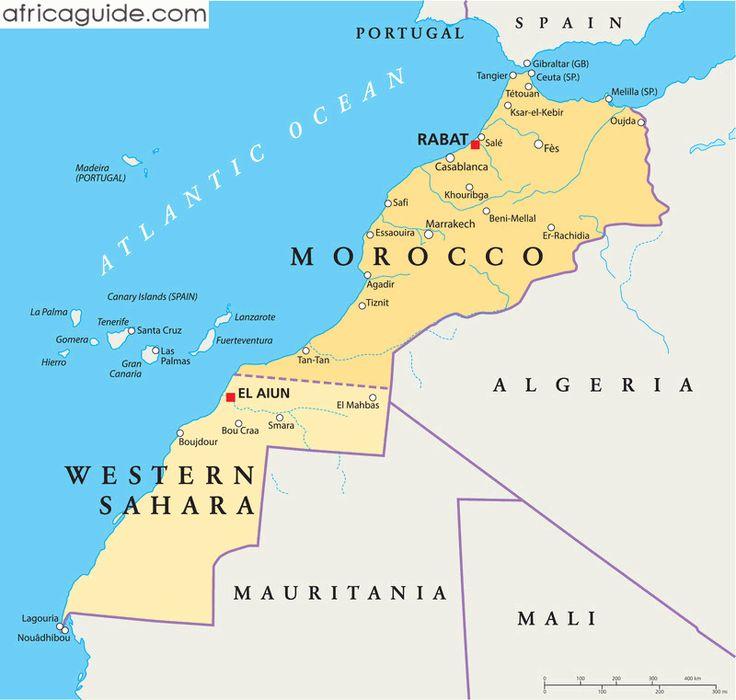 Morocco map with capital Rabat