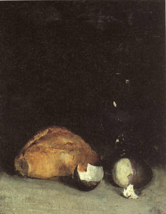 still life with bread and egg 1880s 35x27,Helene Schjerfbeck