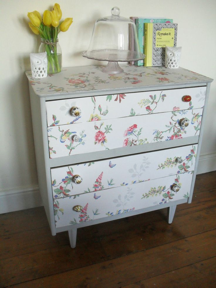 Shabby Chic Drawers Covered In Cath Kidston Wallpaper And Anthropologie  Handles