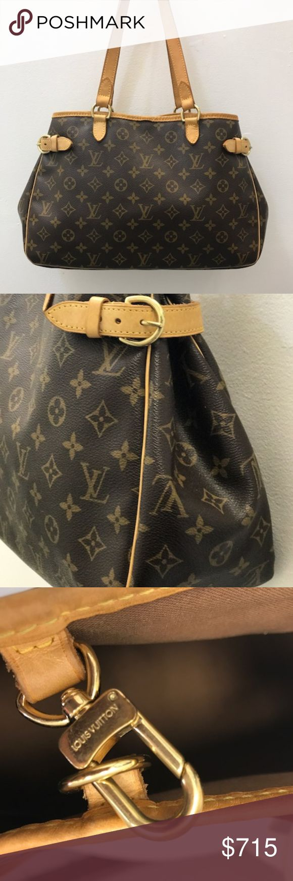 Louis Vuitton Monogram Batignolles Horizontal Tote Louis Vuitton Monogram Batignolles Horizontal Tote This exquisite monogram tote made in the USA features gold fittings and accents, tan leather trim that has a nice patina, side buckles for expansion, double leather handles, and a hook latch closure that opens to a traditional brown fabric interior lining that includes 1 open and 1 zip pocket. This bag retailed for $1150 Dimensions: 14.5 x 10 x 5 Louis Vuitton Bags Totes