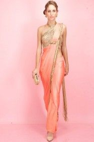 SONAAKSHI RAAJ Coral and gold egyptian embroidery pant-sari Price - $ 1,073