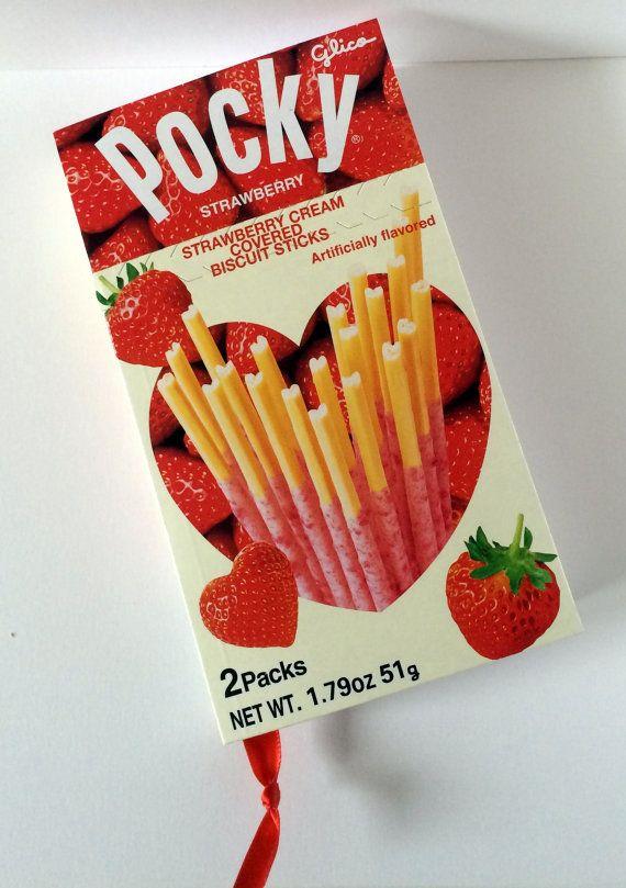 Pocky Strawberry Cream Recycled Japanese Snack Box Journal or Notebook / Pocky Strawberry Heart Journal / Kawaii Journal / Japanese Pocky