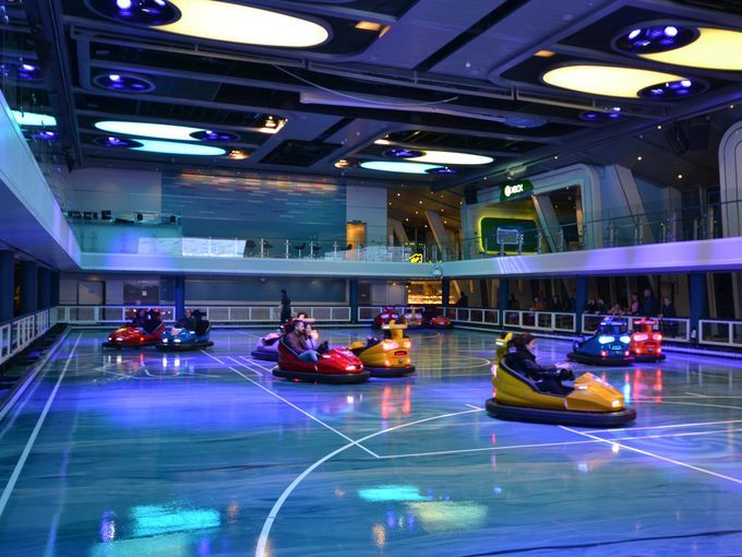 Royal Caribbean QUANTUM OF THE SEAS: The multi-use SeaPlex on Quantum of the Seas is home to bumper cars -- a cruise ship first.