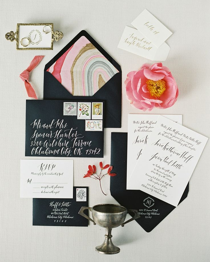 Black and White Foil Stamp Calligraphy Wedding