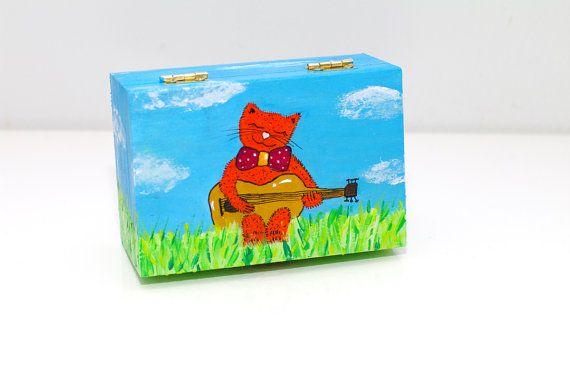 Wooden box - Orange cat and guitar painting  - Hand painted acrylic small keepsake box - Trinket box GIFT OOAK Original illustration - Artist storage