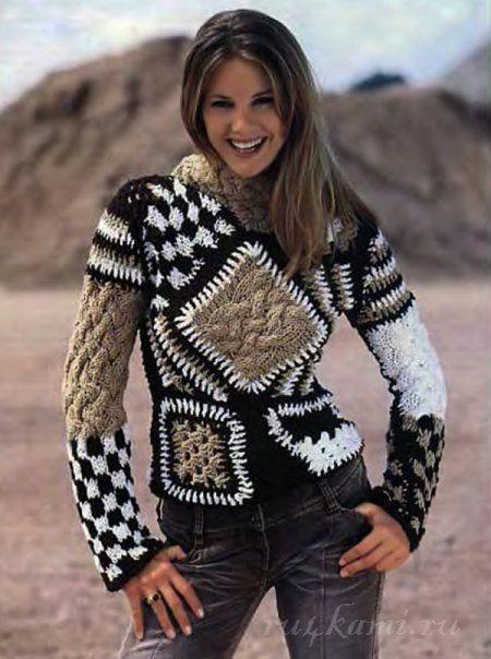 Пуловер спицами вязаный в стиле Печворк