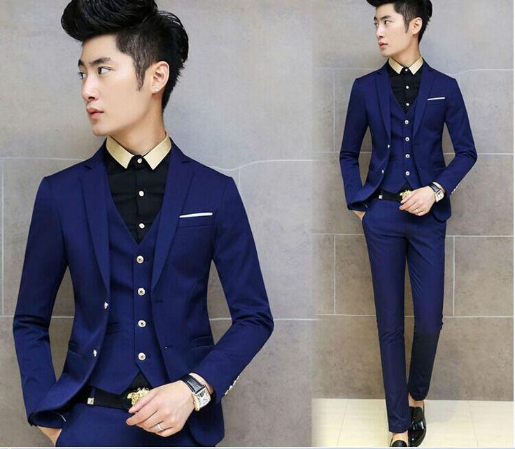 New Arrivals Two Buttons Royal Blue Groom Tuxedos Notch Lapel Groomsmen Men Wedding Tuxedos Dinner Prom Suits Jacket+Pants+Vest+Tie G1460 Black Suits Designer Suits For Men From Finished123, $79.47| Dhgate.Com