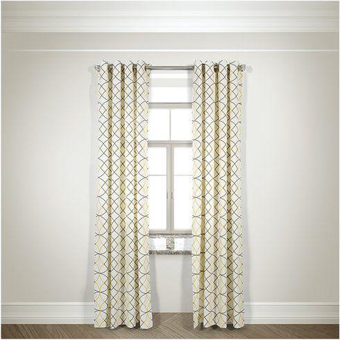 Mana Geometric Semi Sheer Grommet Curtain Panels