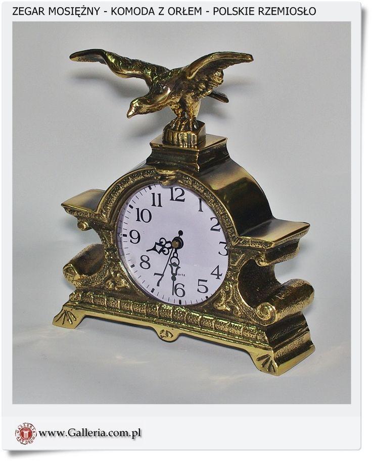 Zegar z orłem wykonany z mosiądzu Polski odlew mosiężny