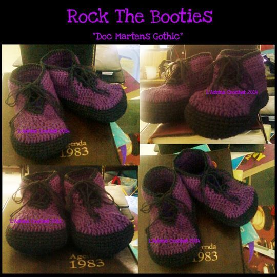 """I called it """"Doc Martens Gothic"""" Crochet Booties. She's ready to welcome the Halloween"""
