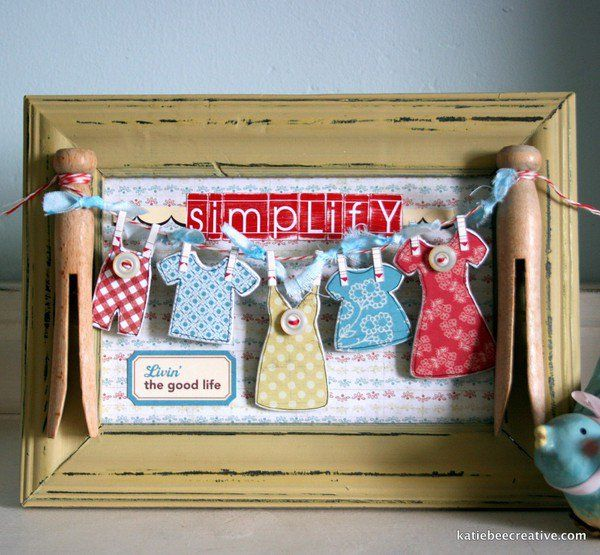 ~Simplify~ Vintage clothespin Laundry Room dollar store clothesline frame with Maya Road chipboard by Katie Watson