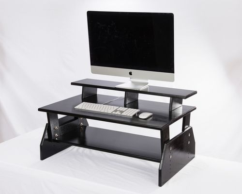 solid black adjustable standing desk converters with a triple level for your monitors health shopstand up