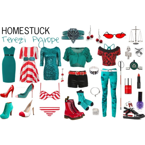 Homestuck Fashion: Terezi Pyrope by khainsaw on Polyvore. One day, one day. I AM GOING TO MAKE JUST A BUNCH OF TEREZI OUTFITS AND WEAR THEM TO SCHOOL EVERY. DAY.