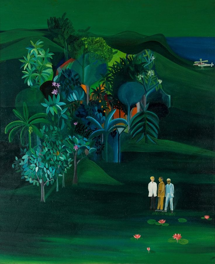 Bhupen Khakhar /// A painting of three men in suits in a wooded tropical landscape with a helicopter in the background