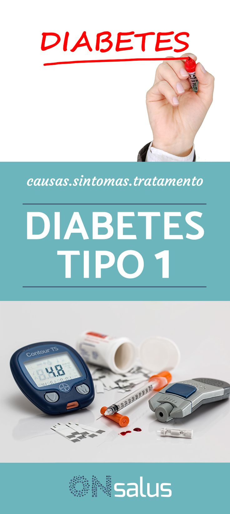 A diabetes tipo 1 é uma condição crônica na qual o pâncreas perde a capacidade de produzir a quantidade adequada de insulina necessária ao nosso corpo, isso faz com que o corpo não seja capaz de aproveitar o açúcar ingerido através dos alimentos para o transformar em energia, acumulando-se perigosamente no sangue. Neste artigo do ONsalus explicamos a você as causas, sintomas e tratamento da diabetes tipo 1. #Diabetes #Tratamentos #Insulina #Doença #Saúde #Açúcar #Glicose