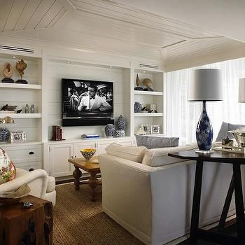 ❤ Built-in-to-the-wall white bookshelves & lower cabinets with horizontal beadboard backing with a TV niche