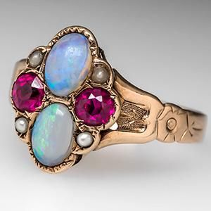 Antique Ruby Opal & Seed Pearl Ring 10K Gold