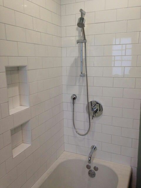 Oversize White Subway Tile Light Grey Grout Handheld Shower Large Shower Cubby Bathroom Redo