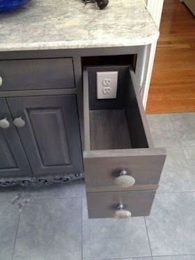 Fantastic idea... install an outlet inside a drawer in your bathroom to help clear clutter from the counter top. I already know I have a use for this in my own home (my boyfriends electric razor that stays out charging all the time)