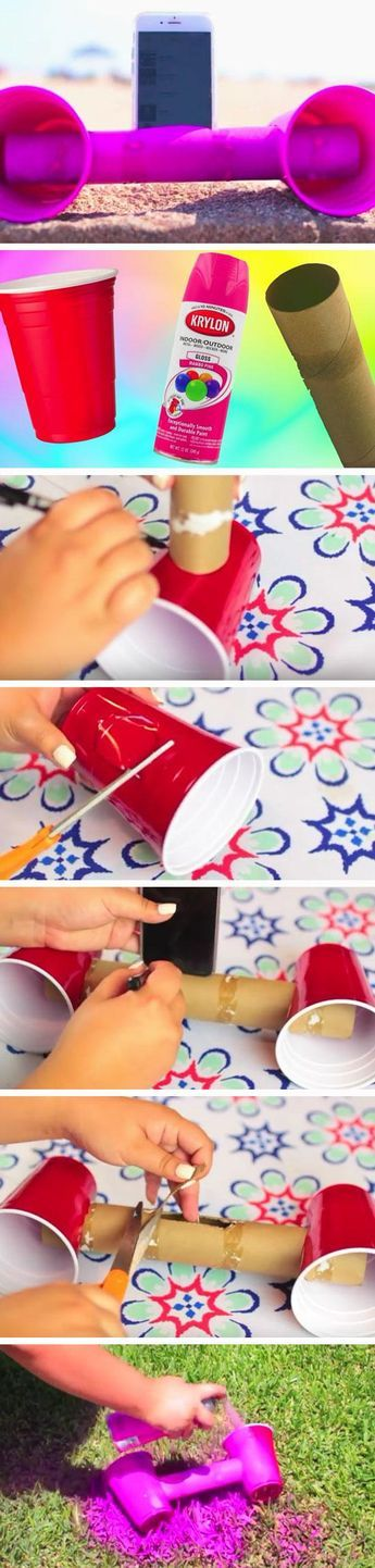 Make a Plastic Cup Speaker   22 DIY Beach Hacks for Teens that will change your life!