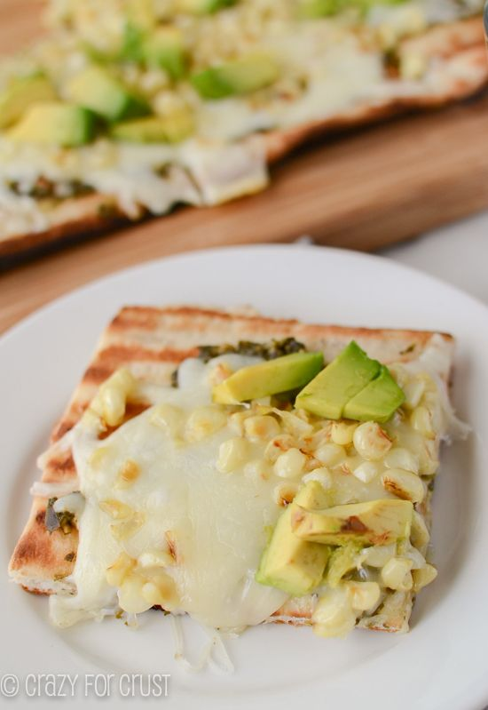Grilled Pizza: Pesto, Avocado, and Corn and a Cookie Doug Pizza for Dessert! crazyforcrust.com #grilledpizza #pillsbury