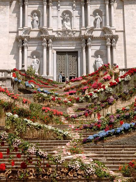 Flowers cascading down cathedral steps during the annual Temps de Flors festival in Girona, España