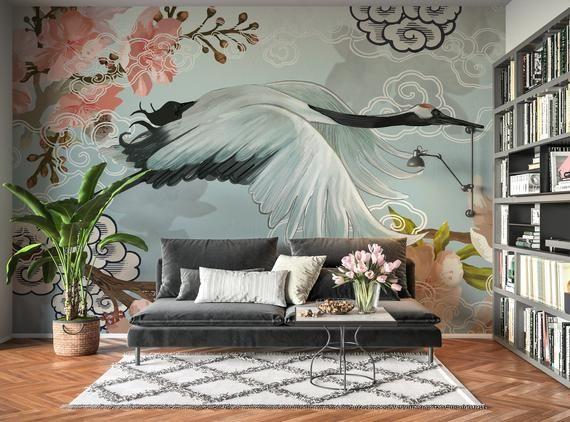 White Japanese Crane Living Bedroom Japanese Mural Wallpaper Removable Self Adhes Interior Paint Colors For Living Room Asian Wallpaper Asian Home Decor