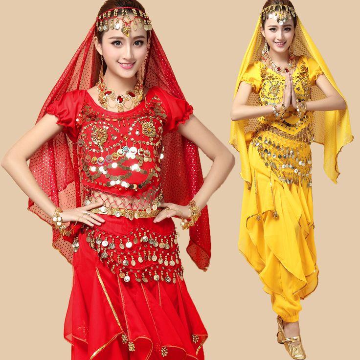 32.46€ 4 unids / 1 Unidades Bollywood India danza del vientre traje indio ropa de baile vestido de Bellydance mujeres Tribal Dancing ropa más tamaño(China (Mainland))