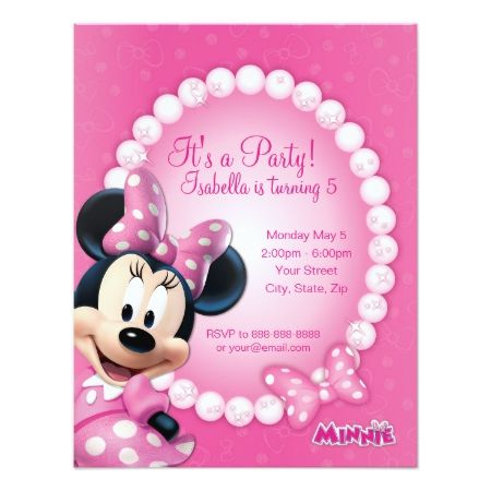 Minnie Pink and White Birthday Invitation - tap to personalize and get yours