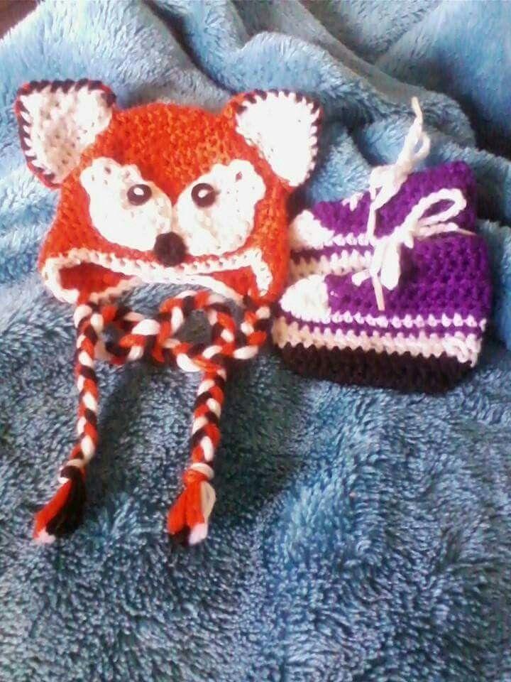 Crochet fox hat and bootie set