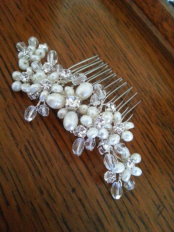 Bridal hair comb with freshwater pearls, crystals and rhinestones by One World Designs