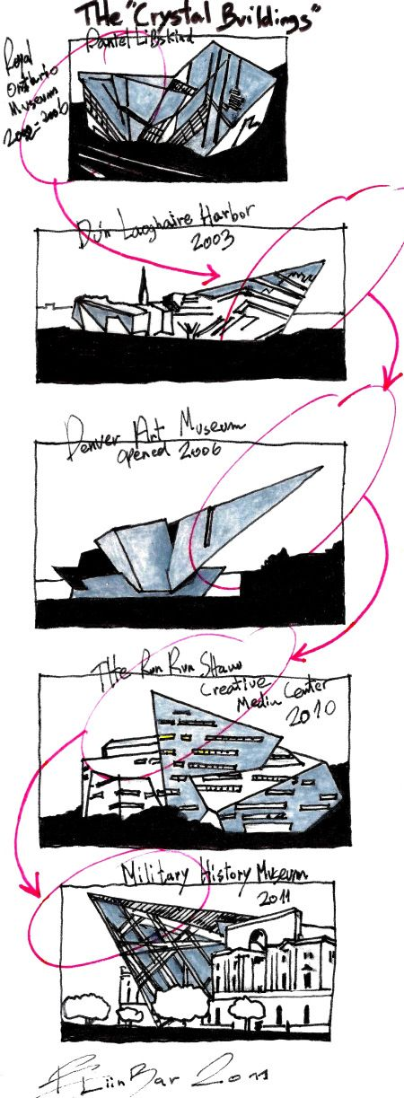 "Eliinbar Sketches 2011 Daniel Libeskind & ""The Crystal Buildings"""