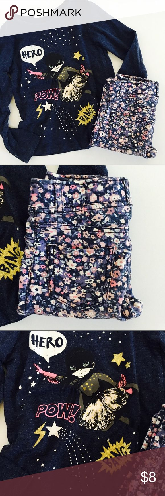 H&M Floral Tregging & Graphic Tee Cute girl superhero tee size 2/4Y. Floral treggings pull on style size 3/4Y. Good used condition. H&M Matching Sets