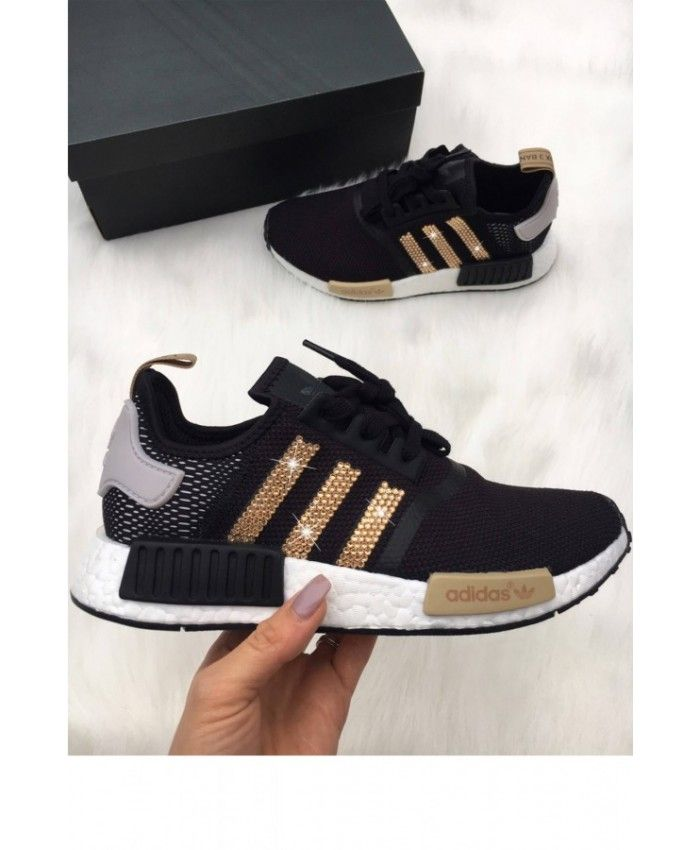 e7dfdb1a3aa4e Adidas NMD Black Trainers With Gold Swarovski Crystals | Work ...