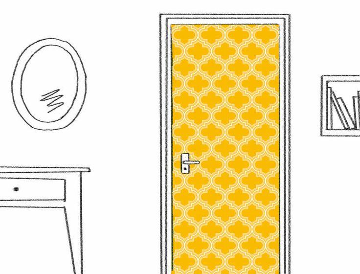 D cor de porte adh sif personnalis motif choisi sur for Decoration porte adhesive