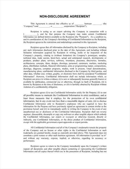 Printable Sample Non Disclosure Agreement Sample Form