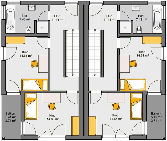 Fertighaus Doppelhaus Gemello PD 212 Grundriss OG