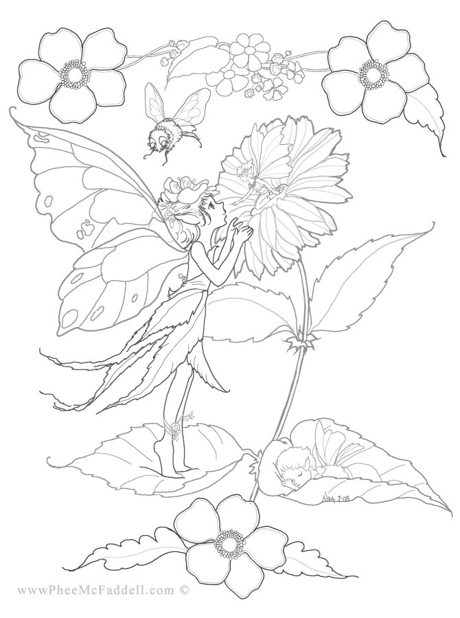 Flower Fairies Colouring : Fantasy coloring pages fairy page books flower