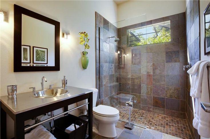 Contemporary 3/4 Bathroom with Ms international golden white quartzite 2x2 tumbled in 12x12 mesh, frameless showerdoor