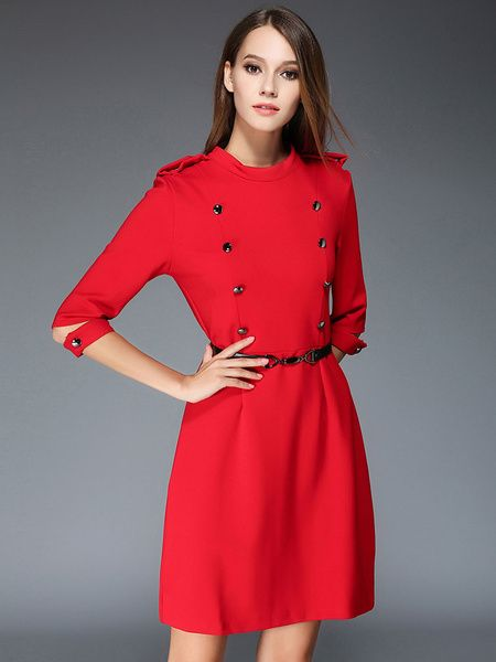 Lux Double Breasted Collared 3/4 Length Sleeve Belted Dress