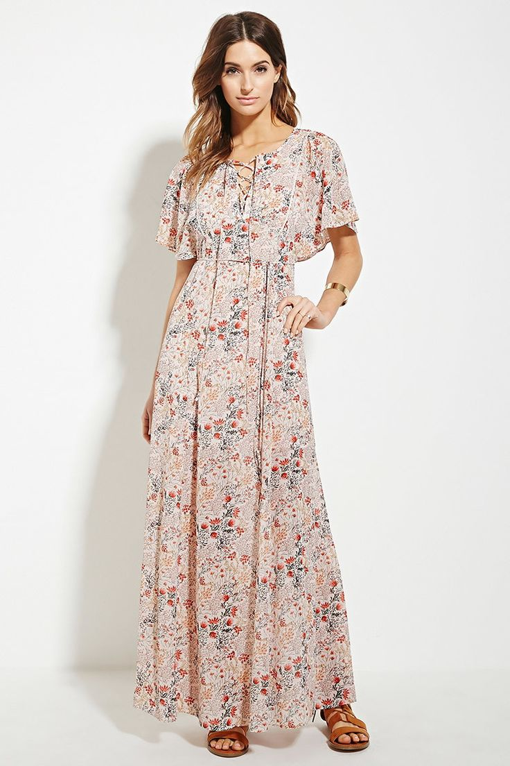 Forever 21 | $30 A semi-sheer woven maxi dress featuring an allover floral print with dolman short sleeves and a lace-up neckline.