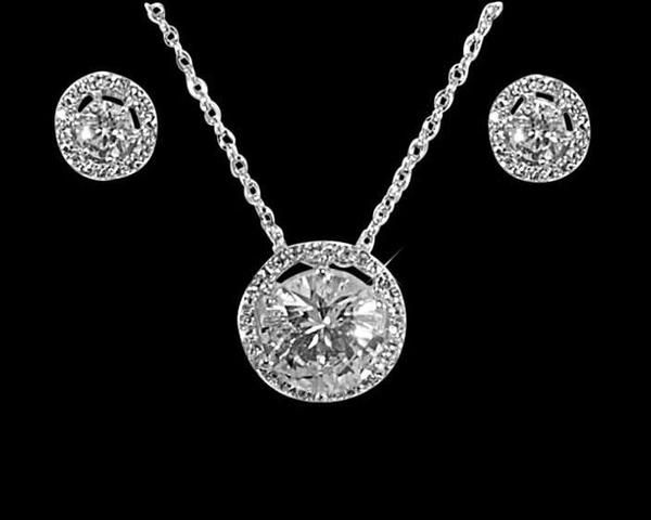 Wedding Necklace - Pavé Crystal Pendant & Stud Earrings Set, Luna