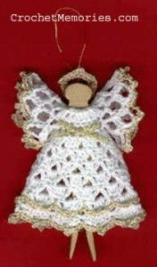 Christmas Clothespin Angel. PDF Download. (In order to download any pattern from Crochet Memories you must first change your settings to allow pop-ups.)