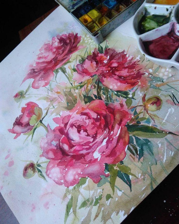 Кажется закончила...... Красные пионы акварель,30х40см.2016 #инна_петрашкевич #акварель #арт #цветы #пионы #красный #instagram #inna_petrashkevich #watercolor#hudgrafblog