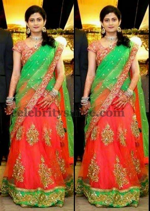 Orange Green Attractive Half Saree | Saree Blouse Patterns