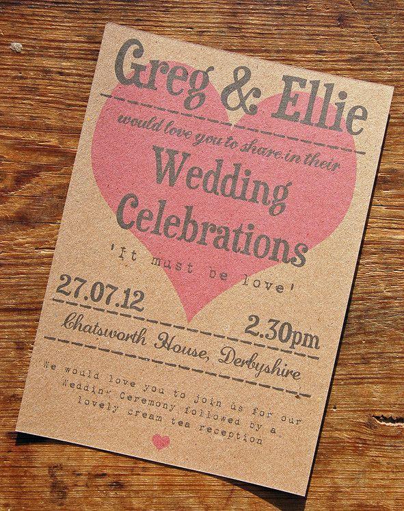 Love Heart Vintage wedding invitation - a bird & a bee